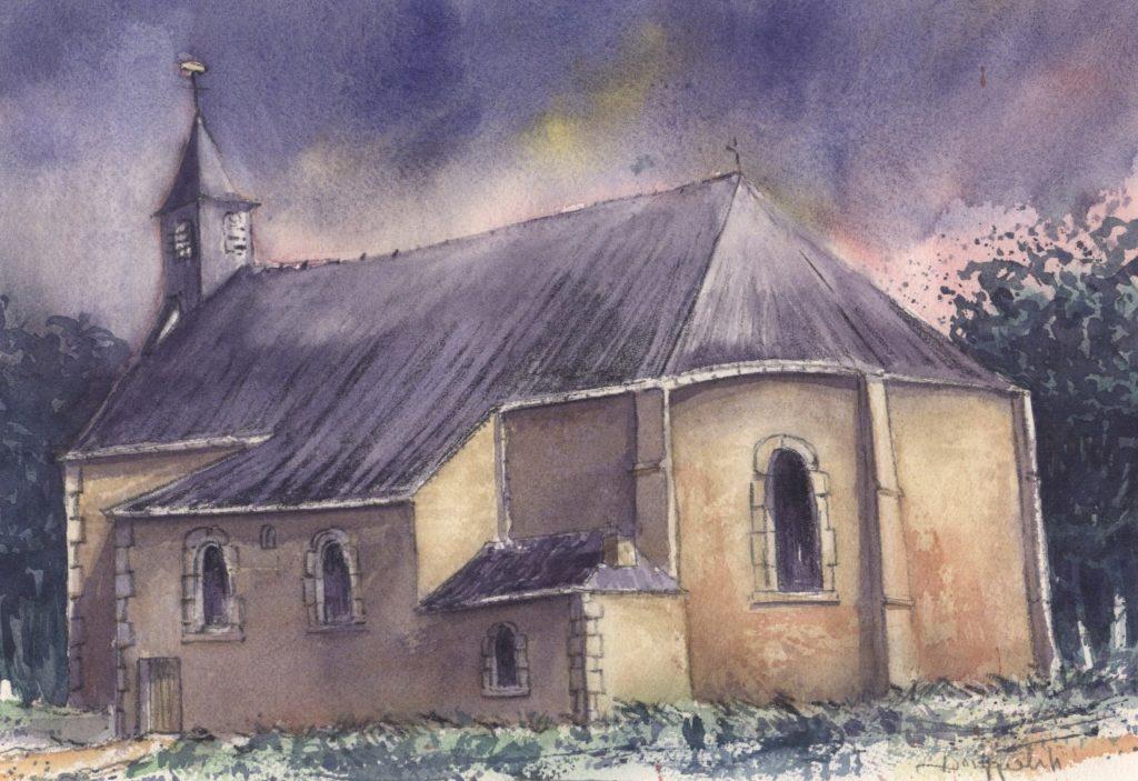 La Chapelle de Jumet Heigne (Dessin de Raymond Drygalski. Tous droits réservés).